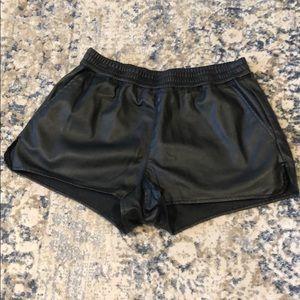 H & M faux leather shorts